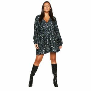 BOOHOO Plus Ditsy Floral Tiered Smock Dress Navy